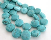 "Turquoise Howlite Beads - Coin Round Beads - Blue Gemstone Coin Beads - Natural Drilled Stone - Dark Matrix - 16"" Strand -Diy Women Necklace"