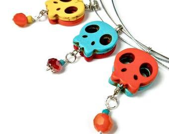 Skull Pendants, Day Of The Dead Necklace Pendants, Sugar Skull Necklace, Dia de los Muertos, Halloween Jewelry