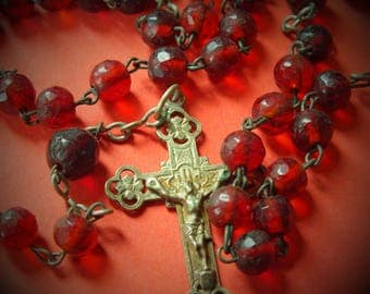 Antique red faced glass Rosary - period around 1900 - with faced round Beads
