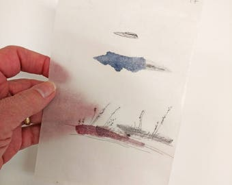 Tiny Landscape / Watercolor and Pencil / Beeswaxed Daily Drawing for June 2, 2017