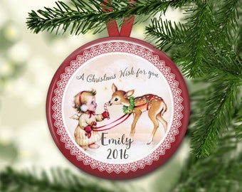 personalized Christmas angel ornaments for baby - baby's first christmas ornament - baby reindeer christmas decorations - ORN-PERS-8