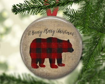 primitive  Christmas tree ornaments - Christmas decorations for tree - plaid bear decor -  ORN-41