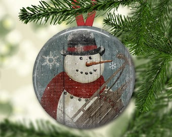 Prim snowman ornament for tree - Christmas decorations for tree - primitive  Christmas tree ornaments -  ORN-45
