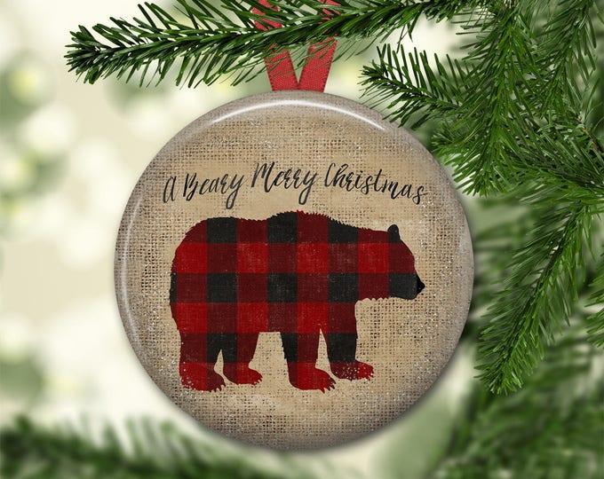 primitive  Christmas tree ornaments - Christmas decorations for tree - plaid bear decor -  ORN-41