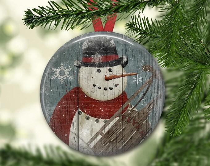 Prim snowman ornament for tree - Christmas decorations for tree - primitive  Christmas tree ornaments -  ORN-45