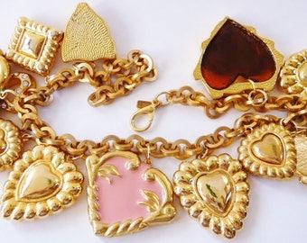 Vintage Escada glass and enamel hearts charm necklace ~ rare