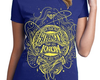 Wonder Woman T-Shirt Pre-order // Stronger Than You Know Shirt // Hand Screen Printed // Women's Comic Book Blue & Yellow