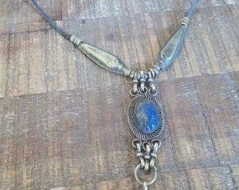 Vintage Bohemian Lapis Lazuli Pendant Necklace