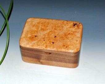 Small Wood Box With a Lift Out Tray-Maple Burl on Walnut by BurlWoodBox - Small Wood Jewelry Box - Wooden Jewelry Box, Keepsake Box, Boxes