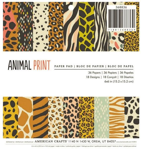 Animal Print 6x6 Paper Pad American Crafts 36 Sheet Zebra Leopard