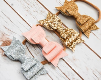Baby Faux Leather Glitter Bow Headbands and Sandals; Baby Girl Silver Pink Fine Gold and Chunky Gold layered bows; stretchy nylon headband
