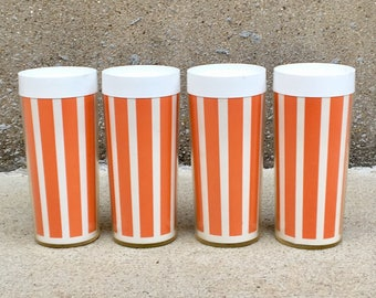 Vintage Set of 4 Plastic Insulated Striped Tumblers