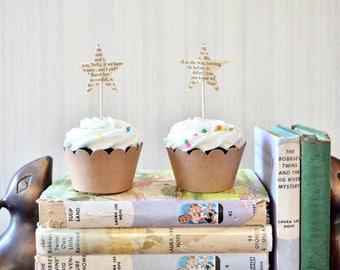 The Original Vintage Book Star Cupcake Toppers - Handcrafted from vintage books. Custom literature available.