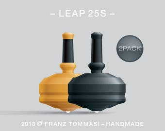 LEAP 25S 2PACK Yellow-Black – Value-priced set of precision handmade spin tops with ceramic tip and integrated rubber grip