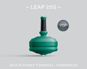 Leap 25G (Green) – Spin top with dual ceramic tip and rubber grip