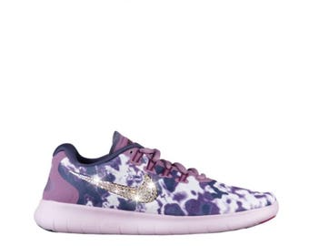 NEW Bling Nike Free RN 2017 Shoes with Swarovski Crystals * Purple Print * Bedazzled with Authentic Swarovski Crystal Rhinestones