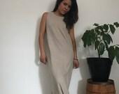 Vintage Victoria Holley knit tank maxi dress // angora blend tank dress // speckled beige knit // 1980s // excellent minimalist dress