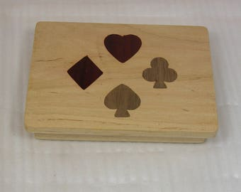 Playing Card Box - Beautiful Addition to Game Night - Four  Suits - Diamond Heart Spade and Club