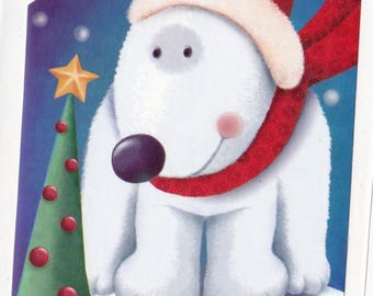 Polar Bear wearing Scarf w Christmas Tree Sticker Holiday Decal Red Green Scrapbooking Winter Snowflakes Party Favor