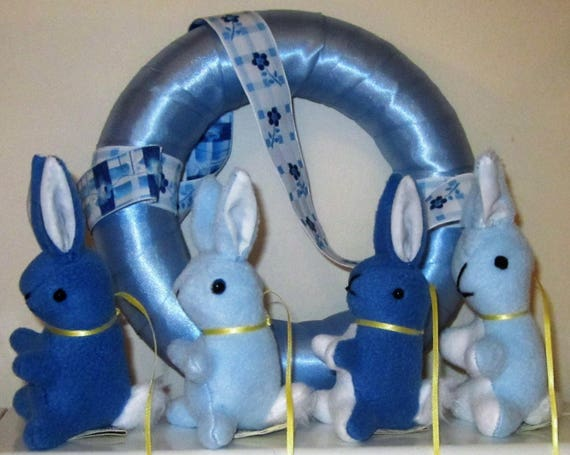 Rabbit Baby Mobile Blue Fleece Bunnies God Parents' Gift Present from Grandma Shower Gift Every Occasion Gift Present for New Family Member