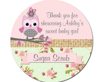 Personalized Baby Shower Sugar Scrub Labels With Cute Pink Owl and Pink Green Roses Background Round Glossy Designer Stickers