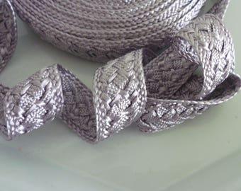 Moroccan trim, silver gray art silk , woven, 5 metres