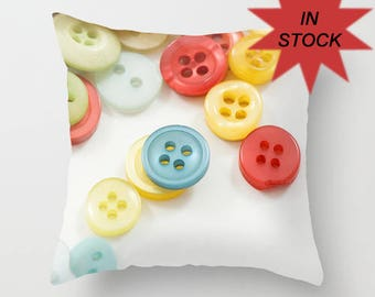 """14"""" Button Photo Pillow Cover, Sewing Room Home Decor, White Throw Cushion, Craft Room Accent,Handmade Gift for Seamstress, Dressmaker"""