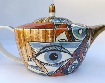 Kitty lustre painted teapot, hand painted teapot with Klimt inspired patterns, Quirky teapot, One of a kind ceramic teapot, illuminati