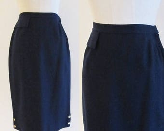 50% OFF SALE Vintage 1950's Navy Blue Pencil Skirt / Blue Wool High Waist Skirt / Jo Collins Size Small