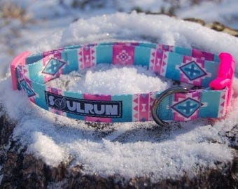 Dog Collar - Pink and Turqoise Aztec Print