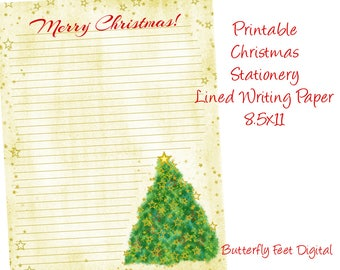 Printable Christmas Stationery, Lined Writing Paper, Christmas Letter, Instant Digital Download, 8.5 x 11