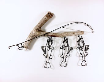 Walleye Stringer and Fishing Rod Wire Sculpture, Walleye Wire Art, Minimal Wire Sculpture, 528833608