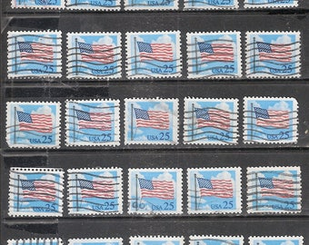 25 FLAG & CLOUDS Vintage Stamps Used and Cancelled U.S. 25c Postage Stamps