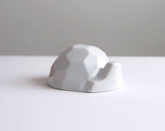 Naaman Israel White Porcelain Modern Cubist Turtle Figurine