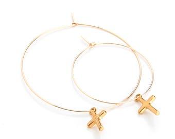 Small Cross Hoop Earrings - EG07cross