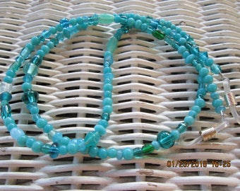 1007  Womens mixed teal glass beaded eyeglass chain-Mens mixed teal glass beaded eyeglass chain