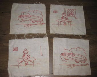 Beautiful Lost Art Vintage Redware Hand Embroidered