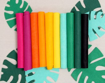 Wool Felt // Tropical // Vibrant Colors, Rainforest Palette, Brightly Colored Felt Sheets, Merino Wool, Felt Crafting, Kid Crafts,DIY Crafts