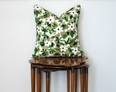 Indoor/Outdoor Floral Print Pillow Cover, in Green, Black + White