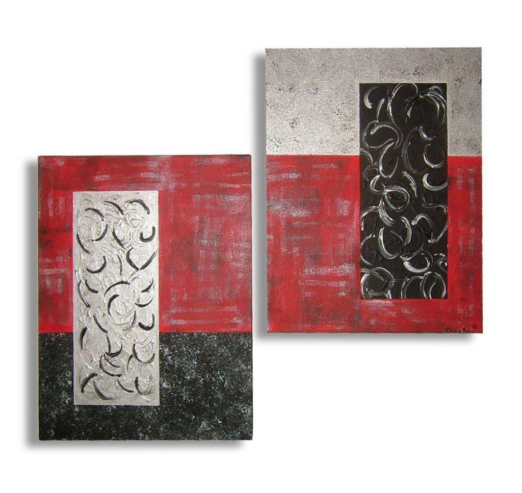 Tableau rouge noir gris argent contemporain de chiaradeco bois for Tableau cuisine rouge