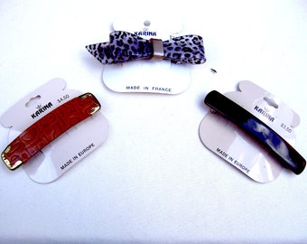 3 vintage Karina big and bold hair barrette celluloid hair accessory hair clip hair slide hair ornament (ADF)