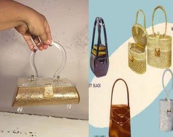 Star Burst By Her Side - Vintage 1950s Golden Confetti Lucite Footed Coffin Box Handbag Purse