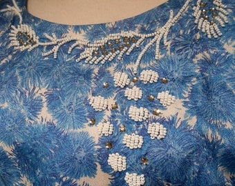 Anniversary Sale 35% Off Mums the Word - Vintage 1950s Blue Tone Mums on a Day Dress w/ Beading - 10/12