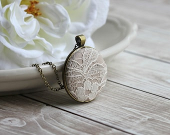 Modern Rustic Bridesmaid Gift, Ivory Wedding Jewelry With Floral Lace And Beige Fabric, Dark Gold Large Pendant, Sets Available