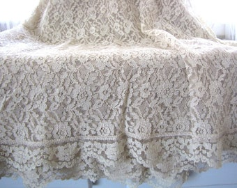 """Vintage Lace Tablecloth Banquet Wedding Holiday 118"""" x 60"""" Cream Ivory from AllieEtCie"""