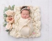 PInk and Green Headband, Flower Baby Crown, Newborn Headband, Baby Girl Photo Prop, Newborn Props, RTS, Sitter,  Baby Headband