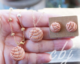 Concha, Rose Gold Concha Earrings, Rose Gold Concha Bracelet, Rose Gold Conacha Necklace, Polymer Clay