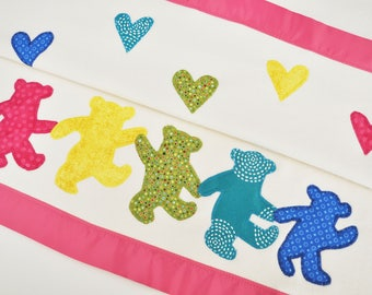Personalized Pink Organic Baby Blanket with Dancing Bears -- Rainbow Grateful Dead Bears
