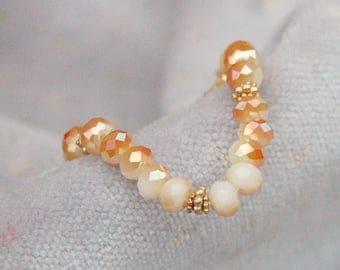 Fire Polish Carnelin Crystal Stretch Bracelet