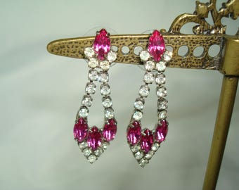 Vintage Fuchsia Rhinstone Pierced Dangly Earrings.